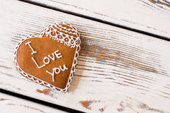 Heart shaped cookie with inscription. Royalty Free Stock Images