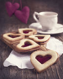 Heart shaped cookie with jam Stock Image