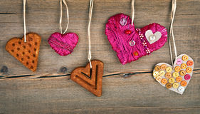 Heart shaped cookie and red handmade heart Royalty Free Stock Image