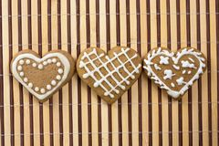 Heart-shaped cookie for Valentines Day. Greeting card stock image