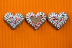 Heart-shaped cookie for Valentines Day. Greeting card stock photos