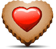 Heart shaped cookie on white background. Vector EPS 10 vector illustration