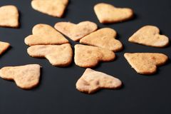 Heart shaped cookies. Closeup of heart shaped ginger cookies or biscuits Stock Photo