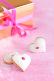 Heart shaped cookies. Homemade white chocolate frosting cookies for valentines day, selective focus Stock Photo