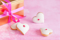 Heart shaped cookies. Homemade white chocolate frosting cookies for valentines day Royalty Free Stock Photos