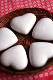 Heart shaped cookies. Cookies on a fancy red tablecloth Royalty Free Stock Photo