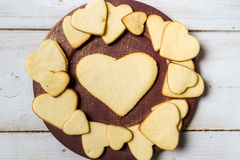 Heart-shaped cookies arranged royalty free stock image