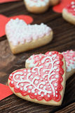 Heart shaped cookies baked on Valentine's Day Stock Photos