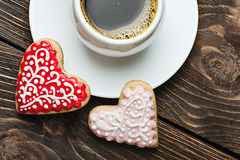 Heart shaped cookies baked Royalty Free Stock Photography
