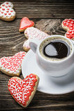 Heart shaped cookies baked on valentines day Stock Images