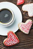 Heart shaped cookies baked on valentines day and a cup of coffee Stock Photo