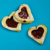 Heart Shaped Cookies On Blue Surface royalty free stock images