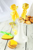 Heart shaped cookies with candies and   coconut cookies on wooden background Stock Photo
