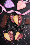 Heart shaped cookies with chocolate and sprinkles Royalty Free Stock Photography