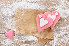 Heart shaped cookies. Royalty Free Stock Photography