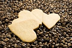 Heart shaped cookies and coffee Stock Photo