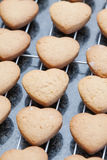 Heart shaped cookies cooling off on metal grid Stock Photo