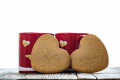 Heart Shaped Cookies With Cups Stock Photos