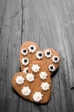 Heart shaped cookies on dark wooden background Stock Images