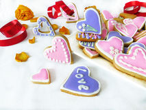 Heart-shaped cookies decorated for Valentine`s day Royalty Free Stock Photos
