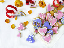 Heart-shaped cookies decorated for Valentine`s day Stock Image