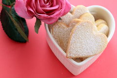 Heart shaped cookies. With flower Stock Photos