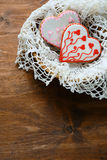 Heart shaped cookies with frosting Stock Images