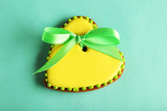 Heart shaped cookies on green background Stock Images