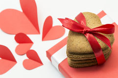 Heart-shaped cookies royalty free stock photo