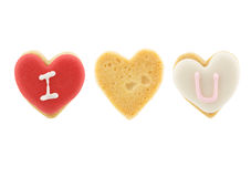Heart shaped cookies (I love you) on white background Stock Images