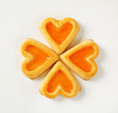 Heart-shaped cookies with jam Stock Photography