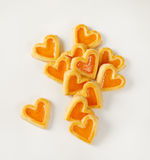 Heart-shaped cookies with jam Stock Images