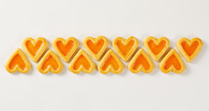 Heart-shaped cookies with jam Royalty Free Stock Images