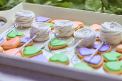 Heart-shaped cookies and marshmallow on the tray Royalty Free Stock Photography