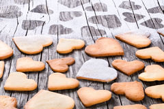 Heart shaped cookies on an old wooden table Royalty Free Stock Photos