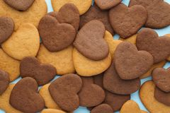Heart shaped cookies pattern for Valentines day. Sweet love concept. Top view stock photography