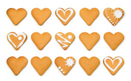 Heart shaped cookies pile isolated over white Stock Images