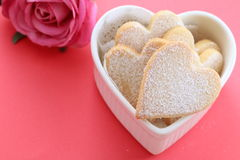 Heart shaped cookies. With pink rose Stock Images