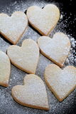 Heart shaped cookies. With powder sugar Royalty Free Stock Photos