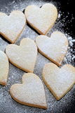 Heart shaped cookies. With powdered shugar Royalty Free Stock Photography