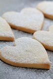 Heart shaped cookies. With powdered sugar Stock Photos