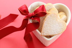Heart shaped cookies. With red ribbon Stock Photo