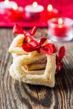 Heart shaped cookies with red ribbon Stock Photo
