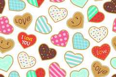 Heart shaped cookies seamless pattern Stock Photo