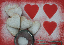 Heart shaped cookies with sugar powder for valentine's day Stock Photography