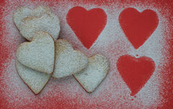 Heart shaped cookies with sugar powder for valentine's day Stock Images