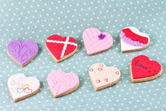 Heart shaped cookies for valentine's day. Heart shaped cookies different colors for valentine's day Royalty Free Stock Photography
