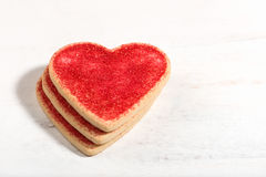 Heart shaped cookies for Valentine's Day arranged and isolated o Royalty Free Stock Photography