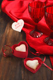 Heart shaped cookies for valentine's day and Card Royalty Free Stock Image