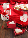 Heart shaped cookies for valentine's day and Card Royalty Free Stock Photos